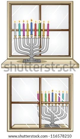 A Vector illustration of Hanukkiah with candles in front and behind a window for the Jewish holiday Hanukkah.