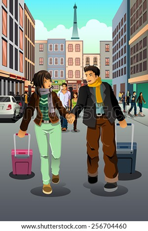 A vector illustration of happy couple traveling together