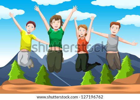 A vector illustration of happy friends jumping together