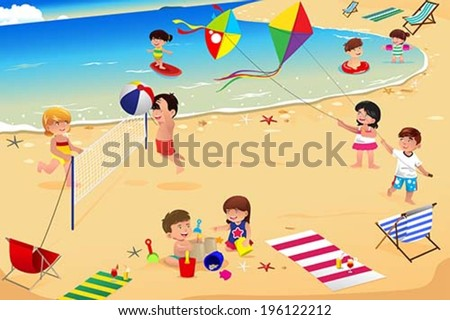 A vector illustration of happy kids having fun on the beach