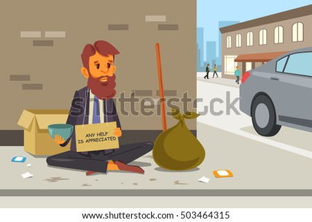 Stock Photo A vector illustration of Homeless Panhandler on the Street