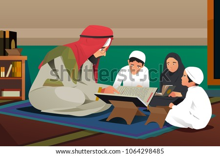 A vector illustration of Imam Reading Quran With His Students