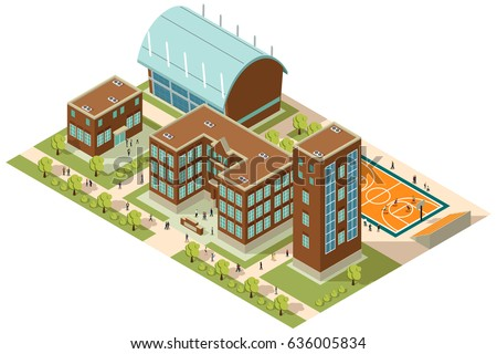 A vector illustration of Isometric College Campus with Buildings and Soccer Field