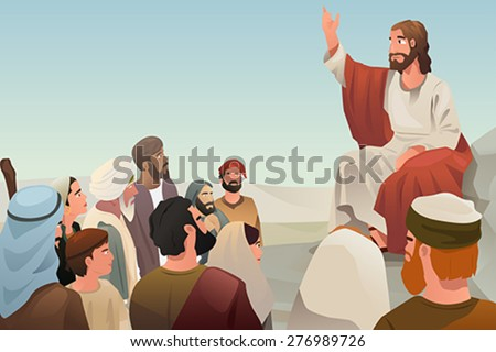 A vector illustration of Jesus spreading his teaching to people