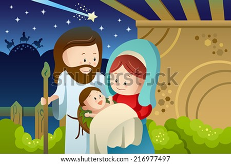 A vector illustration of Joseph Mary and baby Jesus for nativity concept