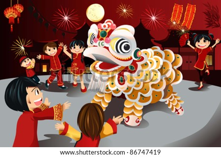 A vector illustration of kids celebrating Chinese New Year - stock vector
