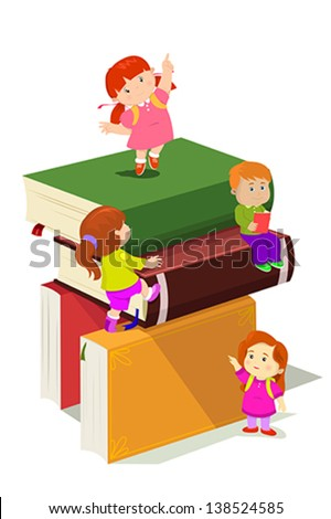 A vector illustration of kids climbing in stack of books - stock vector