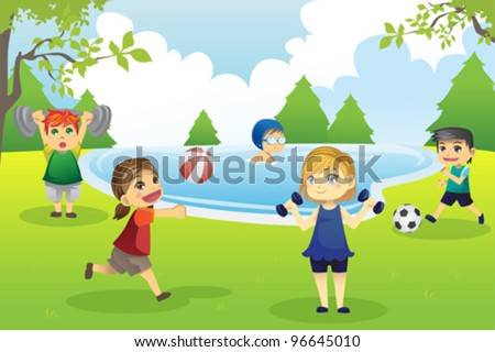 A vector illustration of kids exercising in the park - stock vector