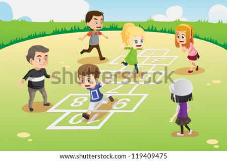 A vector illustration of kids playing hopscotch in the park