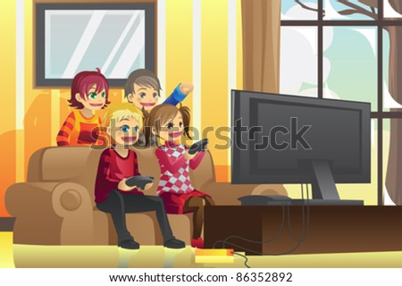 a vector illustration of kids