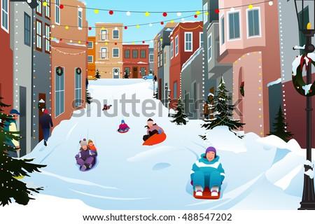A vector illustration of Kids Sledding on a Snowy Street During Winter Season