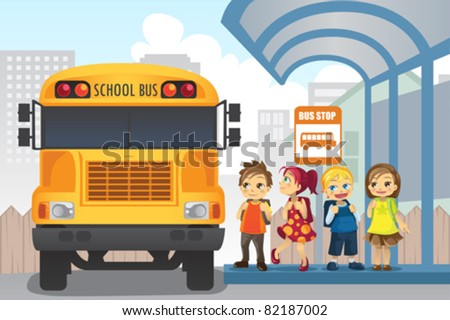 A vector illustration of little children waiting at a bus stop