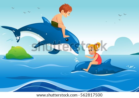 A vector illustration of Little Kids Swimming with Dolphins in the Ocean