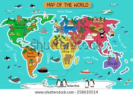stock vector a vector illustration of map of the world 258610514 - Каталог — Фотообои «Для детской»
