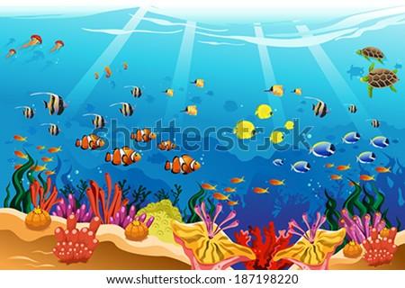 a vector illustration of marine