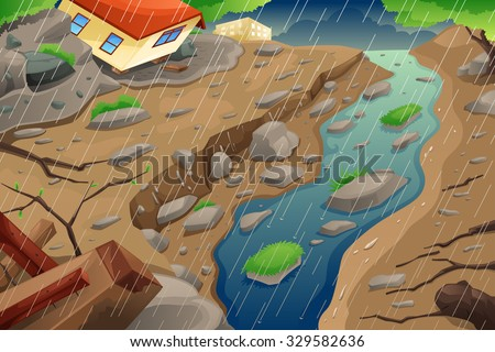 A vector illustration of monsoon rain resulting in flood an mudslide