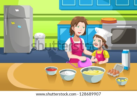 A vector illustration of mother and her daughter baking in the kitchen