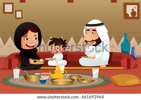 A vector illustration of Muslim Family Eating at Home