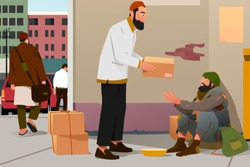 A vector illustration of Muslim Man Giving Donation to a Poor Homeless Man