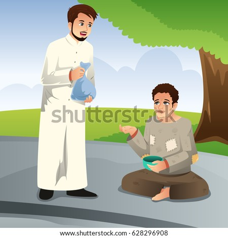 Stock Photo A vector illustration of Muslim Man Giving Donation to a Poor Man