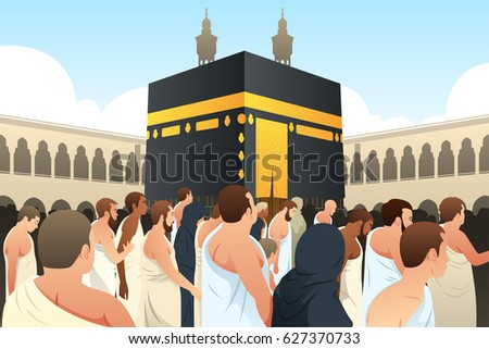 A vector illustration of Muslim Pilgrims Walking Around Kaaba in Mecca