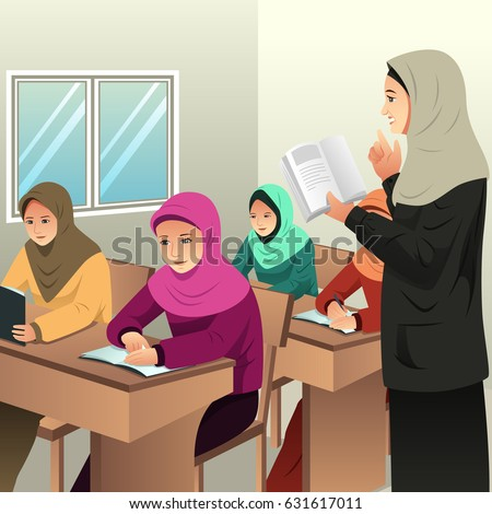 A vector illustration of Muslim Students in a Classroom with Her Teacher