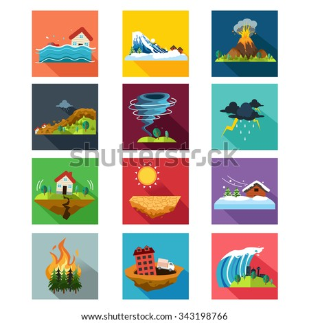 A vector illustration of natural disaster icon sets