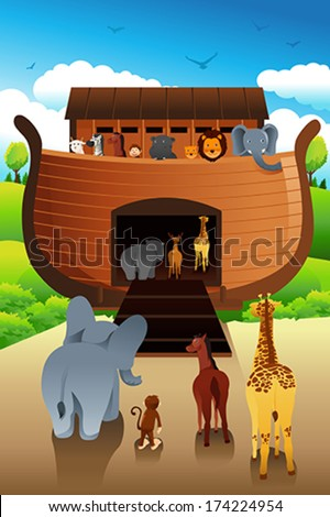 A vector illustration of Noahs ark