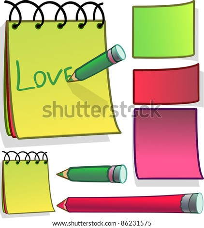 A vector illustration of notes and stickers. Can be recolored or scaled without problems and quality loss