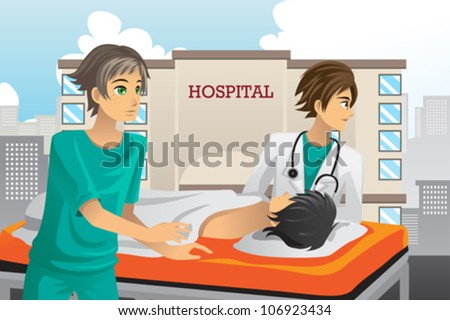 A vector illustration of paramedics at work in the hospital