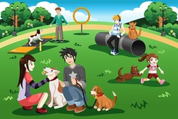 A vector illustration of people having fun in a dog park