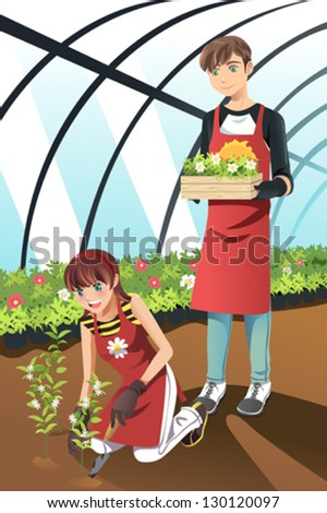 A vector illustration of people planting in a greenhouse
