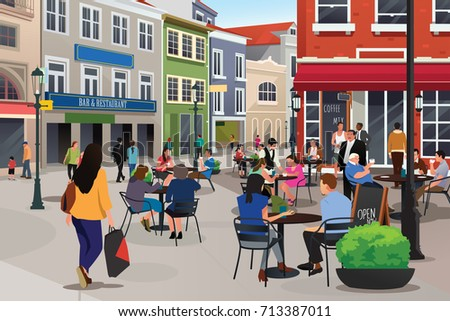 A vector illustration of People Sitting in Outdoor Cafe