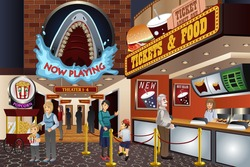 A vector illustration of people waiting to buy tickets in a movie theater