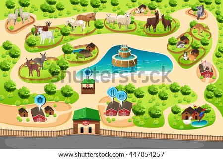 A vector illustration of petting zoo map