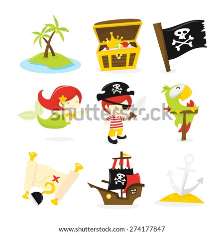 A vector illustration of pirate mermaid and treasure island theme icon set like deserted island treasure chest pirate flag mermaid pirate boy sword parrot treasure map and more