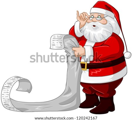 A vector illustration of Santa Claus holding and reading from his Christmas list of good and bad children.