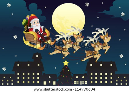 A vector illustration of Santa Claus riding the the sleigh pulled by reindeers in the middle of winter night