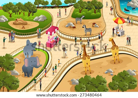 A vector illustration of scene in a zoo