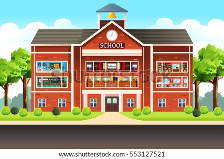 A vector illustration of school building