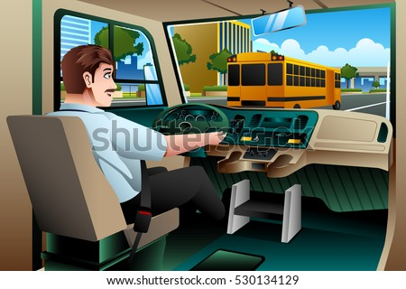 A vector illustration of School Bus Driver Driving a Bus