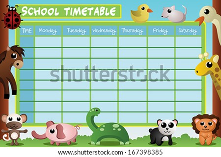 School Timetables to Print of School Timetable Design