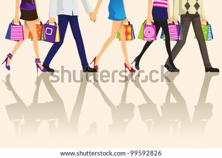 A vector illustration of shopping people carrying shopping bags
