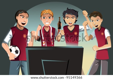 A vector illustration of soccer fans watching the game on the television