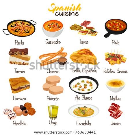 A vector illustration of Spanish Food Cuisine