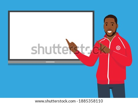 A vector illustration of sport Coach Talking in front of white board explaining about tactic Foto stock ©