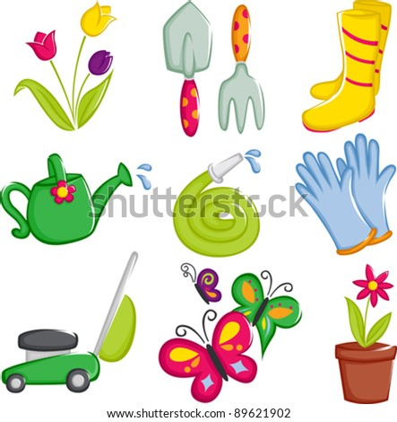 A vector illustration of spring gardening icons
