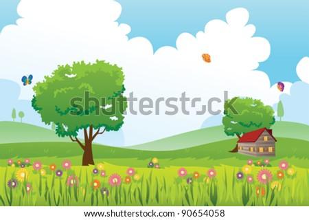 A vector illustration of Spring season nature landscape