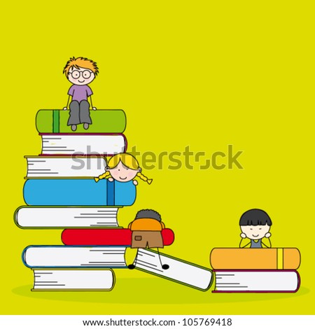 A vector illustration of students and books, can be used for children education concept - stock vector
