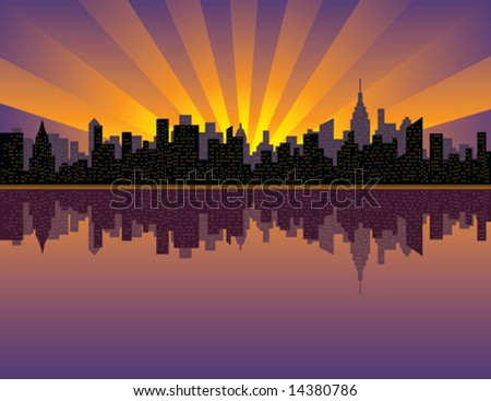 a vector illustration of sunset